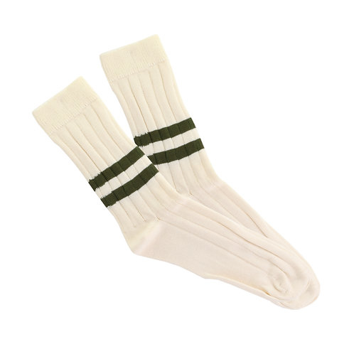 Natural - Double Military Green Stripe