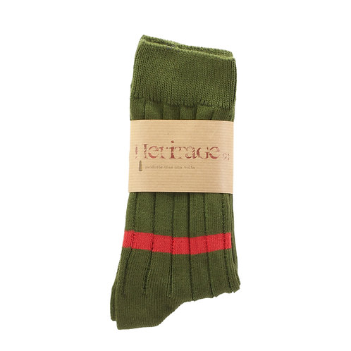 Military Green - Single Low Red Stripe