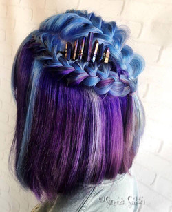 purple blue  braided hairstyle