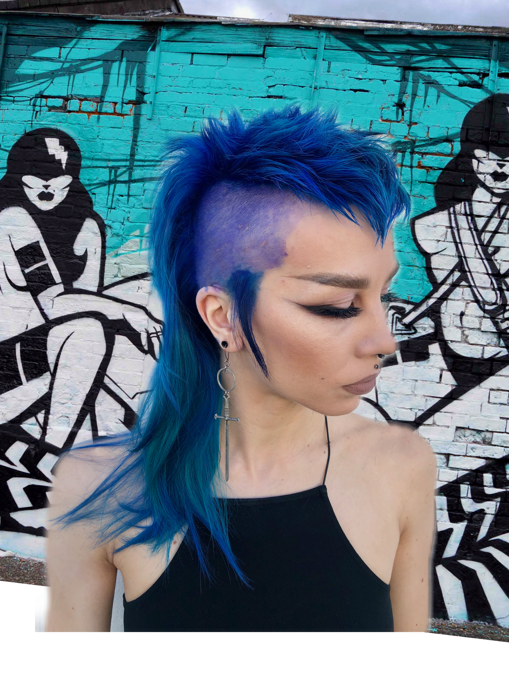 blue fashion mullet