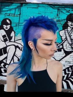 blue mullet mohawk