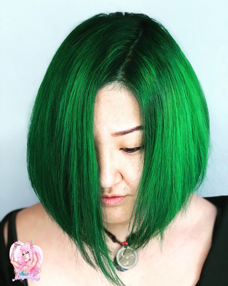 emerald green asian bob