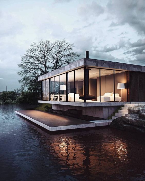 modern lake house lake house in Michigan lake house