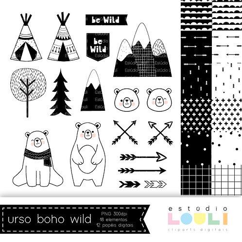 Cliparts urso escandinavo - boho wild