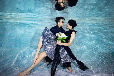 Underwater Wedding Photo with Black suits
