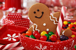 Fun image of smiling gingerbread man wit