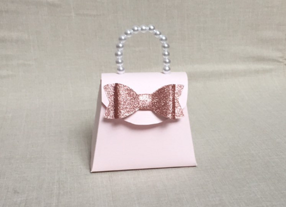 Set of 12 Purse Party Favors / Light Pink Purse With Rose Gold Bow