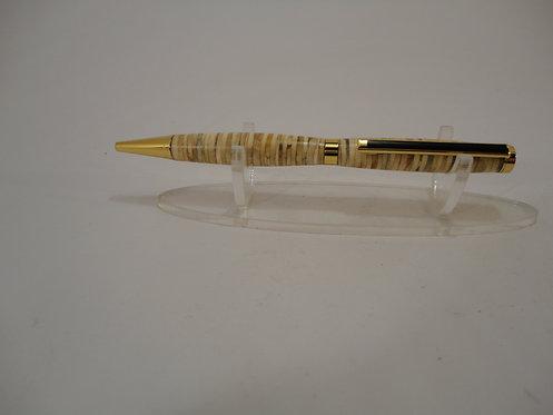 Segmented Slimline Pen with Gold Trim & Black Stripe on Clip