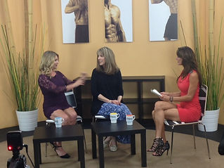 Patricia Shanks (center) television interview
