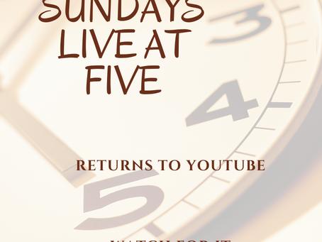 Studio Shanks Sundays Live at Five Returns!