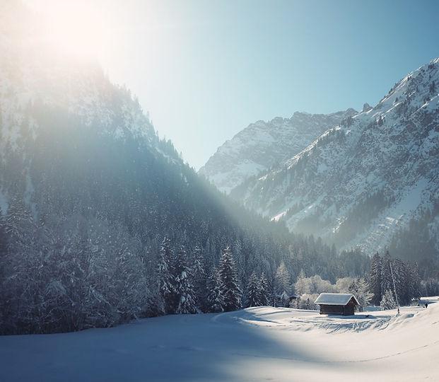 Cabine hiver avec la neige