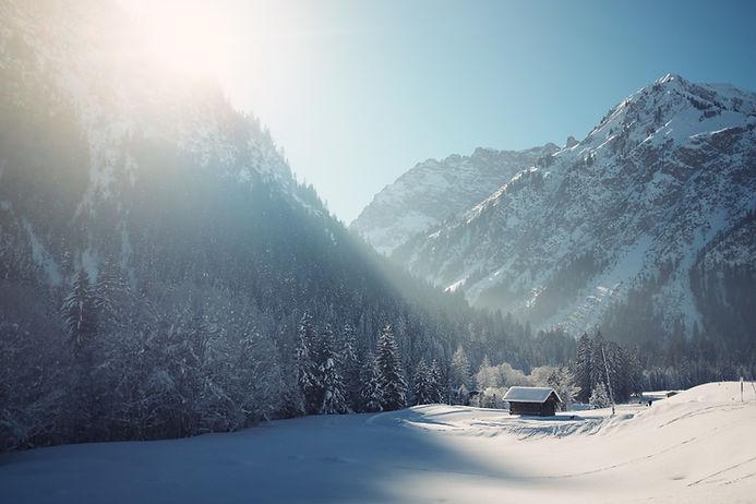 Cabine van de winter met sneeuw