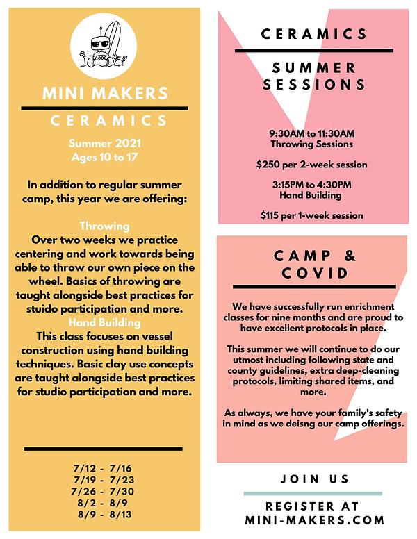 2021 Summer MiniMaker Camp Ceramics Menu
