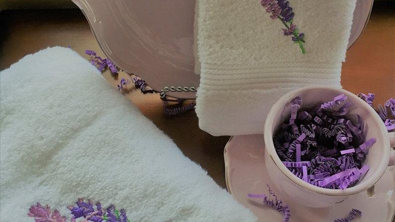 Embroidered Lavender Hand towel and Washrag