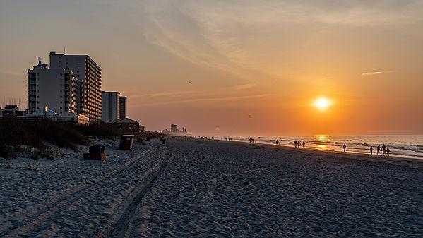 Sunrise at the beach in Myrtle Beach, South Carolina in April.