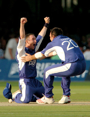 Sussex's James Kirtley sinks to his kness Sussex's James Kirtley falls to his knees as they beat Lancashire in the C&G Trophy Final, 2006