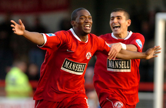 Crawley's Jon Paul Pittman celebrate a goal during a third round FA Trophy match against Droylsden