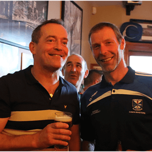 Ciaran Brady, partner KBG and Christy Shields in Kingscourt enjoying post match celebrations after the Cavan Legends game.
