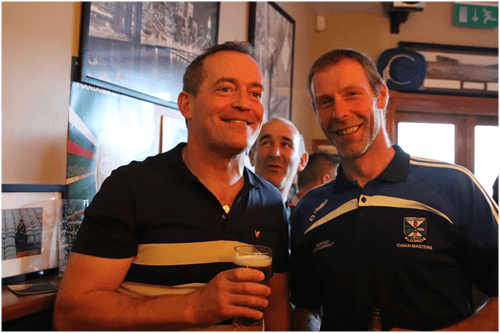 Ciaran Brady, partner KBG and Christy Shields in Kingscourt enjoying post match celebrations after the Cavan Legends game.