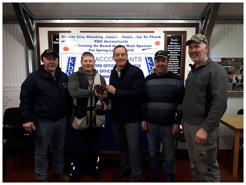 Ciaran Brady KBG main sponsor of Streete Clay Shooting Grounds spring league. In photo are (left to right) Willie Campbell (Treasurer), Nigel McLoughrey (Templemichael Wildlife Club winner), Ciaran Brady (KBG), Joe Kelly (Chairman), Michael Campbell (PRO).