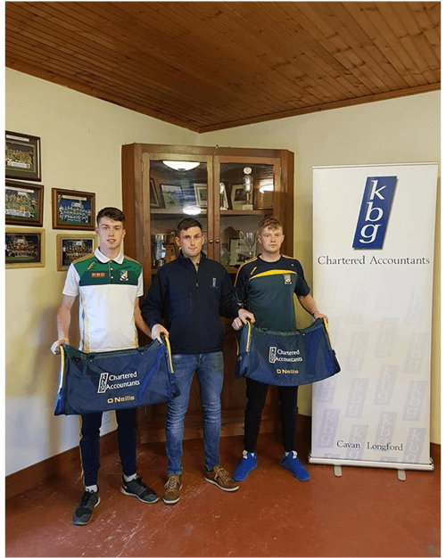 Kieran Goldrick  Presents gear bags to Ballymachugh GFC