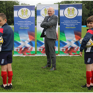 KBG sponsor shorts for Cavan Rugby Club underage players. In picture with Mark Reilly are Oisin Molloy and Xavier Reilly.