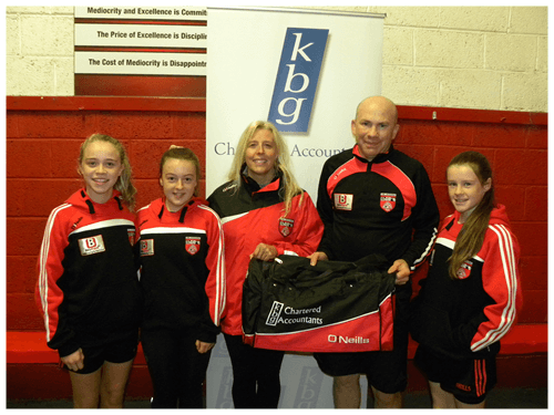 Mark Reilly Presents gear bags to Killygarry girls