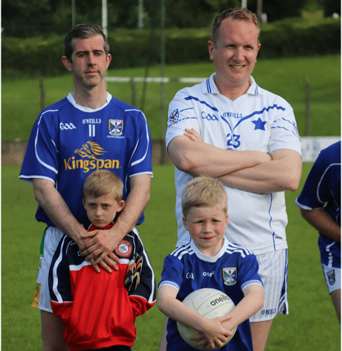 Pat Reilly (number 11) and son. Evolve Health & Fitness Ltd, played for Cavan Legends team in Joe McCarthy Legends Charity game.
