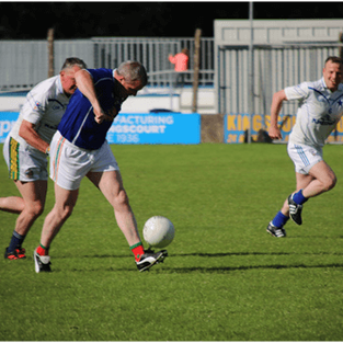 Larry Reilly, still hasn't lost the touch, played for Cavan Legends team in Joe McCarthy Legends Charity game.