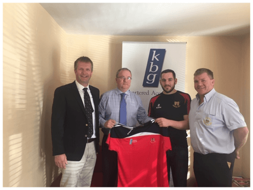 Paddy Keavney Presents training tops to Co. Cavan RFC
