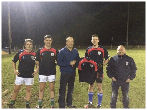 Ciaran Brady Presents training tops to Gowna GFC