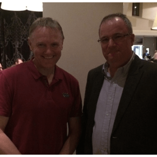 Joe Schmidt meets Paddy Keavney  Probably looking for some tops or bags for his lads