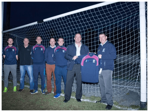Ciaran Brady Presents training tops to Arva GFC
