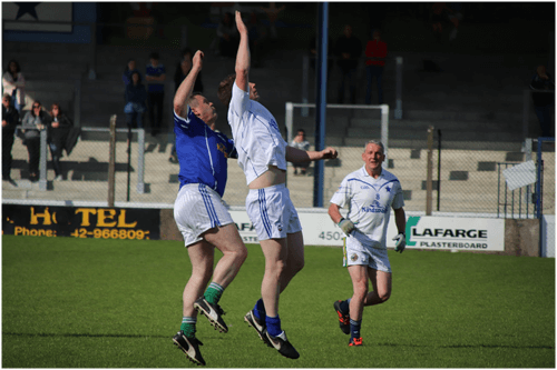 Damien Duignan, going high for the ball, played for Cavan Legends team in Joe McCarthy Legends Charity game.