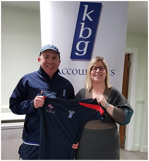 KBG's continued support of Cavan Rugby Club. Mark Reilly ( Partner KBG and coach of Cavan Rugby under 8's ) presents Janice Poyntz with training tops for the Cavan Rugby Festival 2019 .