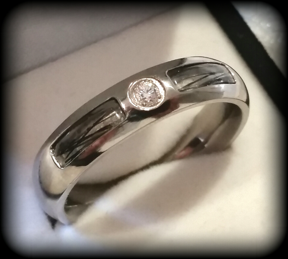 Double Inlay Ring in Titanium