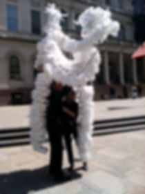 Styrofoam backpack puppets in front of City Hall, NYC