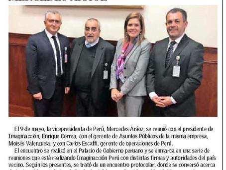 Enrique Correa se reúne con Vicepresidenta de Perú, Mercedes Aráoz