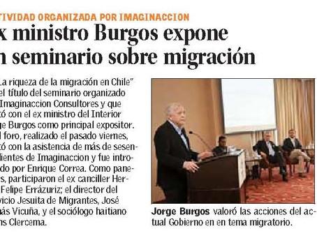 Exministro Burgos expuso en seminario sobre Migración