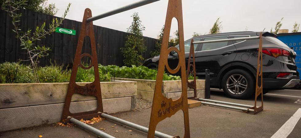 The Birdwood bike rack. Cyclists welcomed.