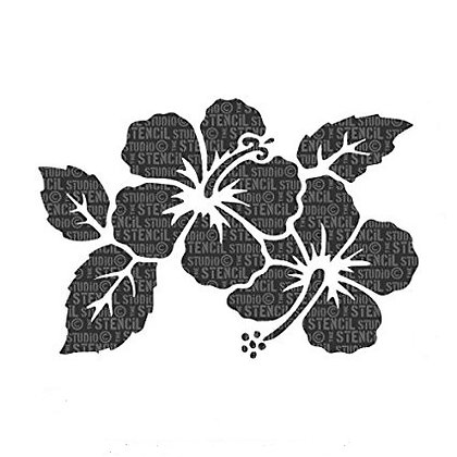 Hibiscus with leaves Stencil