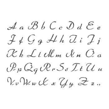 French Script Alphabet Stencil