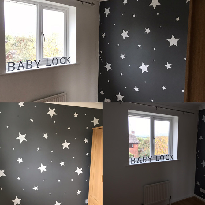 Complete nursery makeover finished today. Painted in white with dark grey feature wall, handmade sta