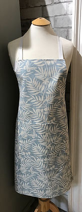 Blue leaf handmade apron