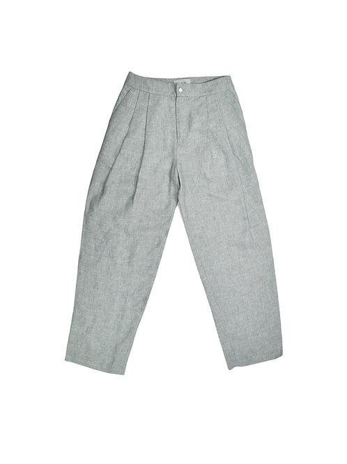 Grey Button-Up Linen Trousers | Pantalon Boutonné Gris en Lin