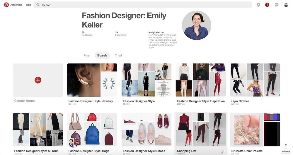Fashion Designer Emily Keller Pinterest Boards