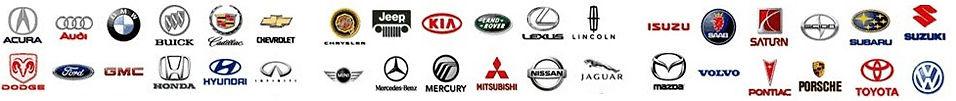 Acura, Audi, BMW, Chrysler, Buick, Dodge, Cadillac, Ford, Honda, Jaguar, Jeep, Land Rover, Mazda, Mercedes-Benz, Mitsubishi, Saturn, Infiniti, Lexus, SAAB, Chevrolet, GM, Subaru, Toyota, Volvo, VW, Oldsmobile, Nissan, GMC.