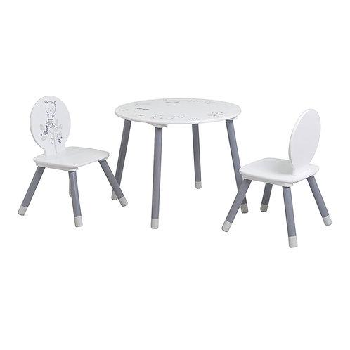 Kindersitzgarnitur Bärchen mit 1 Tisch & 2 Stühlen MDF & Kiefer, weiss