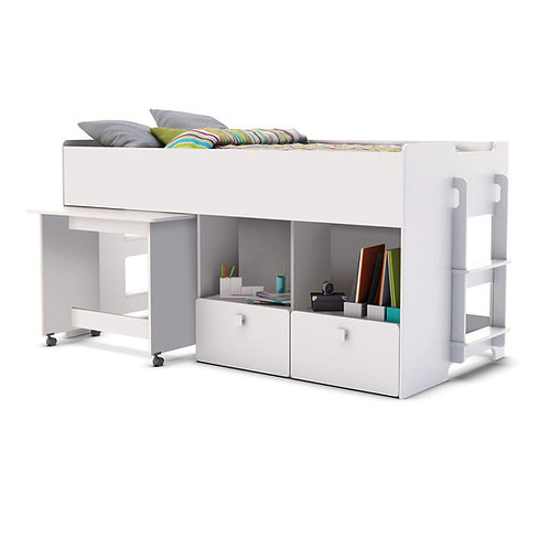 Kinderbett HOCHBETT Weiss Schreibtisch auf Rollen + 2 Treppen KOMBIBETT 90x200cm