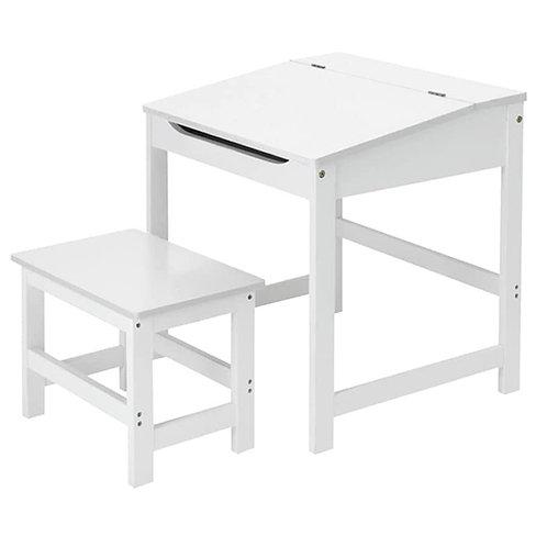 Kinderpult Weiss inkl. Hocker Kindertisch Schreibtisch 57x55x45cm MDF